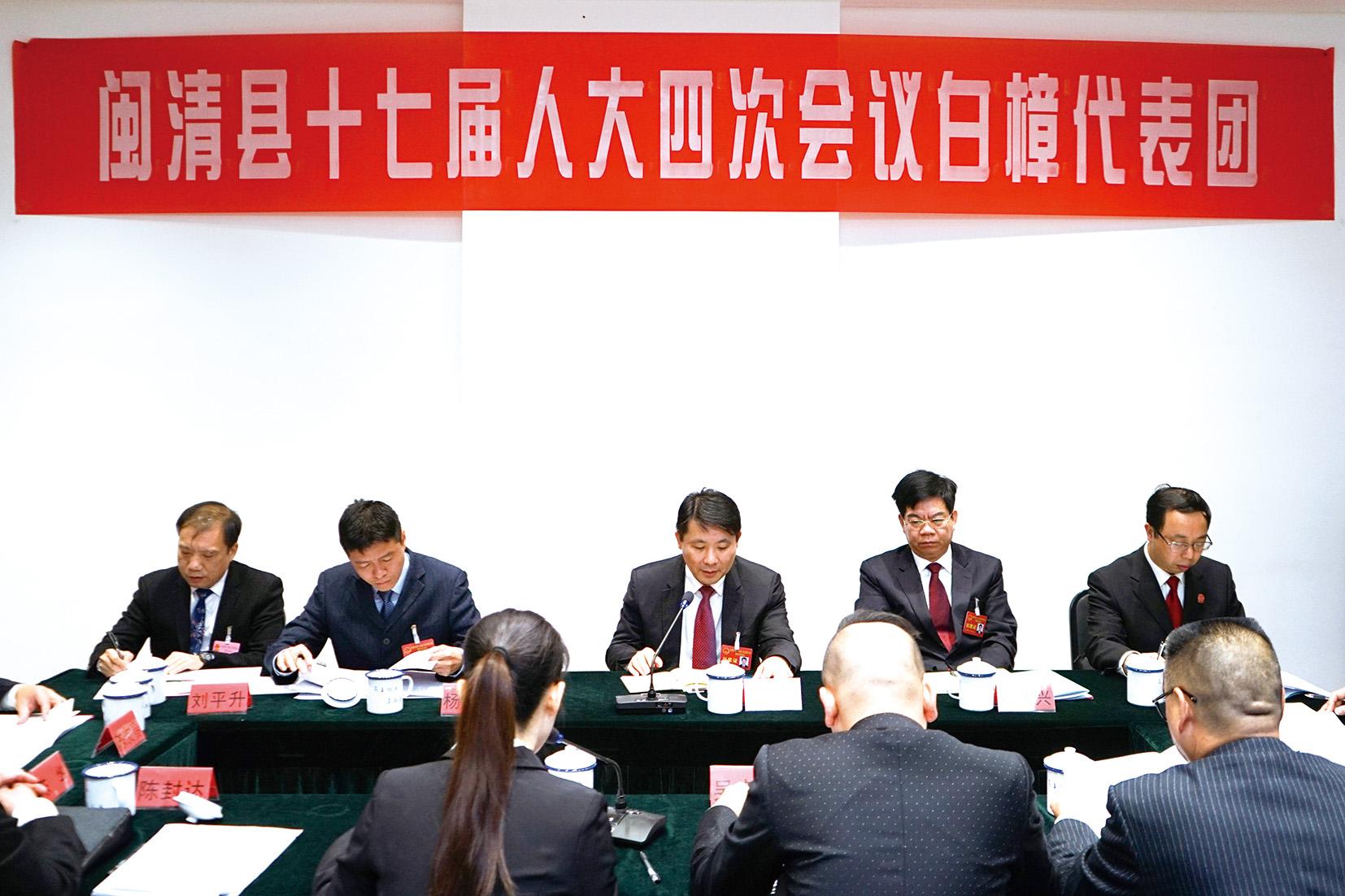 陈忠霖郑子记参加县十七届人大四次会议代表团审议
